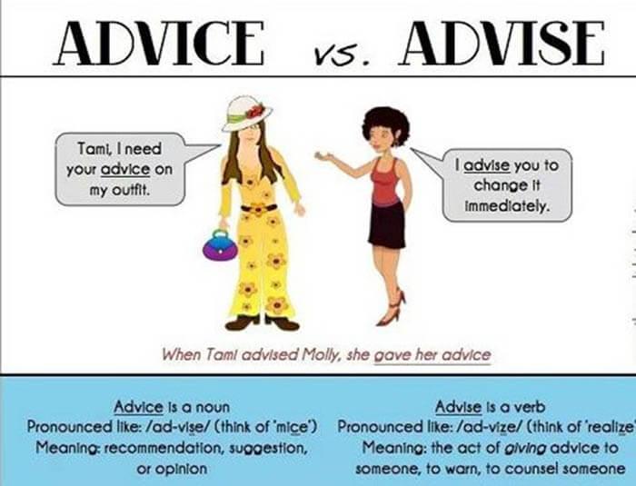 Phân biệt Advice và Advise