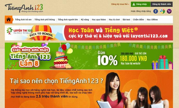 Tienganh123 – Trang web học từ vựng tiếng Anh cho mọi lứa tuổi
