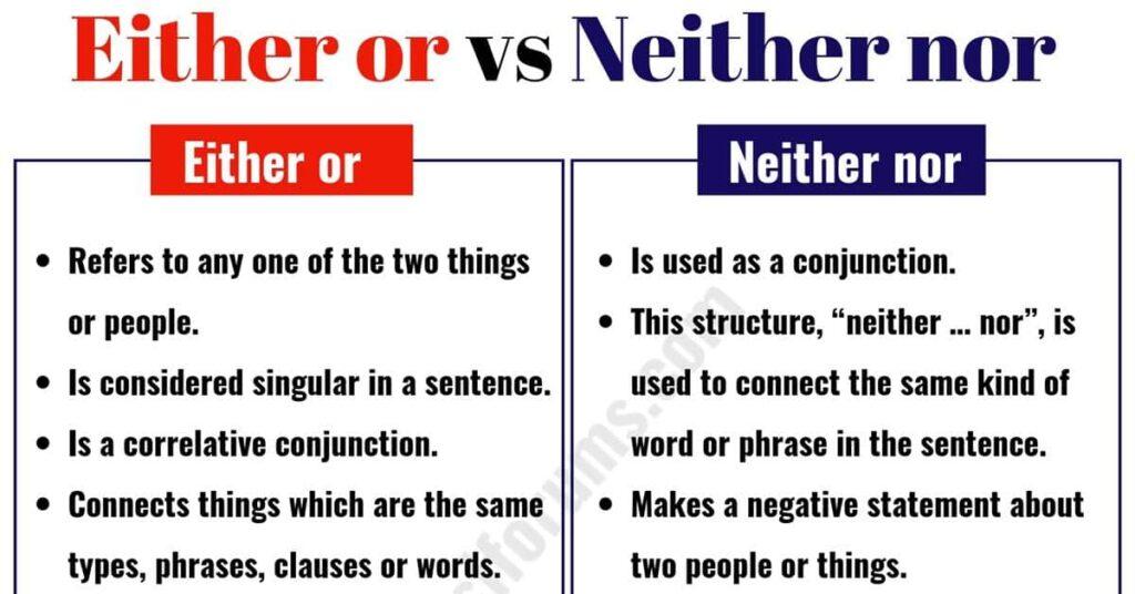 Phân biệt neither...nor và either...nor